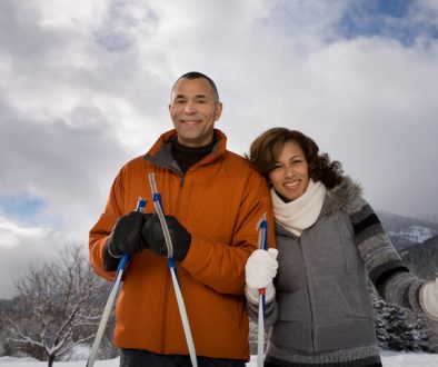 Portrait of a mature couple in the snow